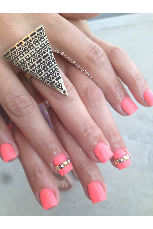 Studded matte neon coral acrylic nails. Instagram ...
