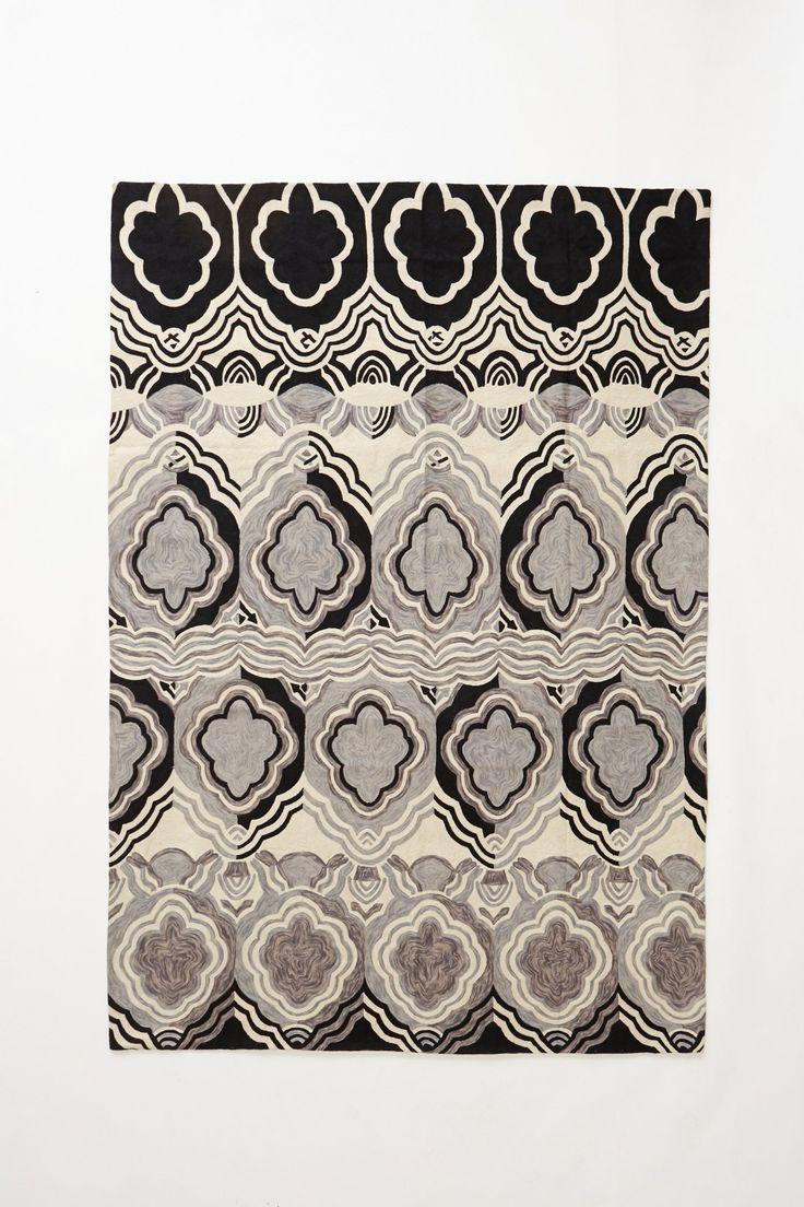 Monochrome Tapa Crewelwork Rug - Anthropologie.com