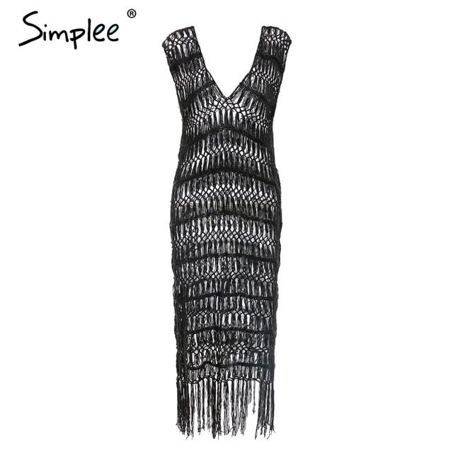 Summer swimsuit women coverups see through tassel beach dress hollow out party club white ladies vestidos