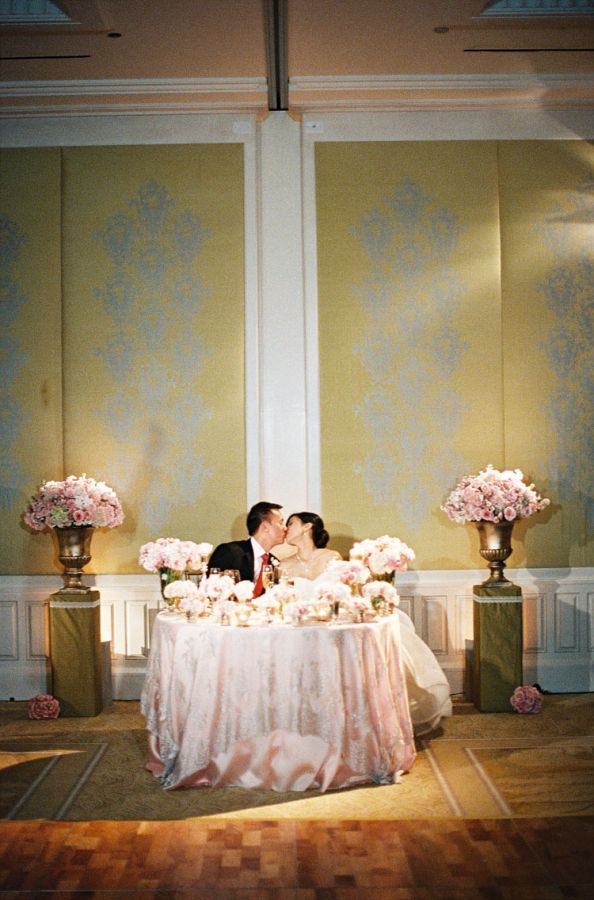pink and white bride and groom table romantic bride groom table and ballrooms