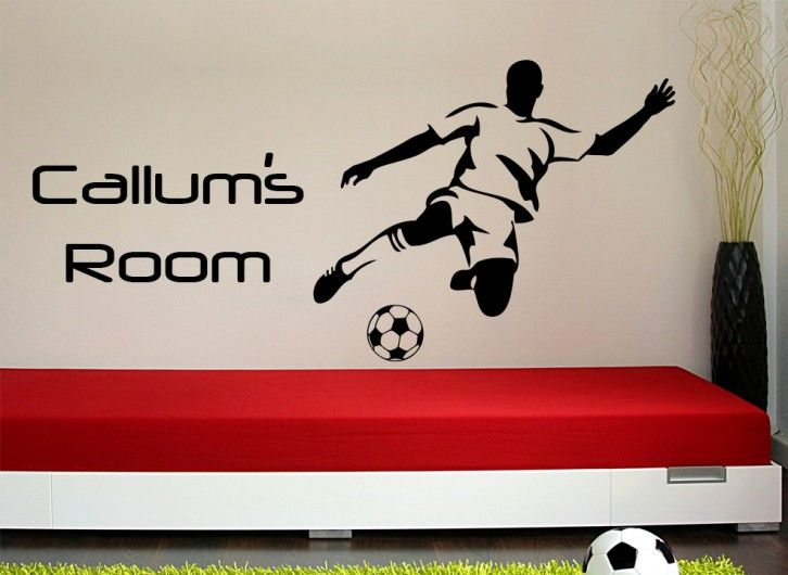 This Football Striker Wall Art Sticker Can Be Personalised With Any Name(s)  Or