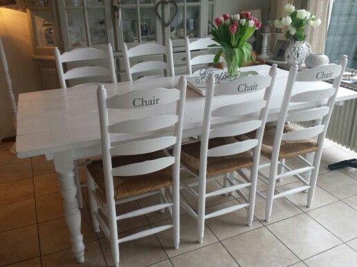 Landelijke stoelen wit riet