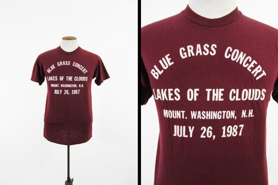 Vintage 1987 Thunderstorm Junction T-shirt Mt Washington NH Hiking Club Concert - Sm / M  This burgundy tee was made for one of the first concert hikes organized by the Thunderstorn Junction Hiking Club. Theyre still held once a year on top of Mount Washington, New Hampshire and sound like a heck of a time. The shirt is in excellent condition and has crackled text on the front and back. It was made in the USA with a 5050 cotton blend and is super soft from years of wear. Check out the Co...