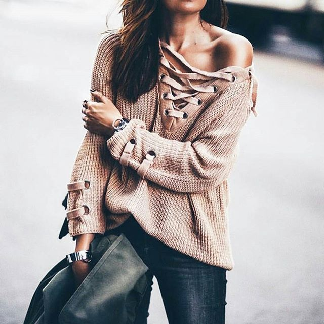 WEBSTA @ shoplunab - Get the look with our 'ties that bind' sweater available in grey   mocha