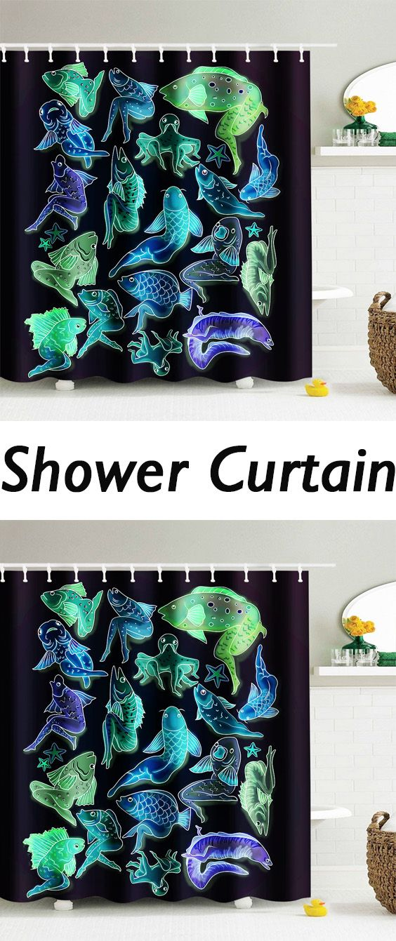 Cartoon Humanoid Fishes Waterproof Shower Curtain Inexpensive Home Decorhome