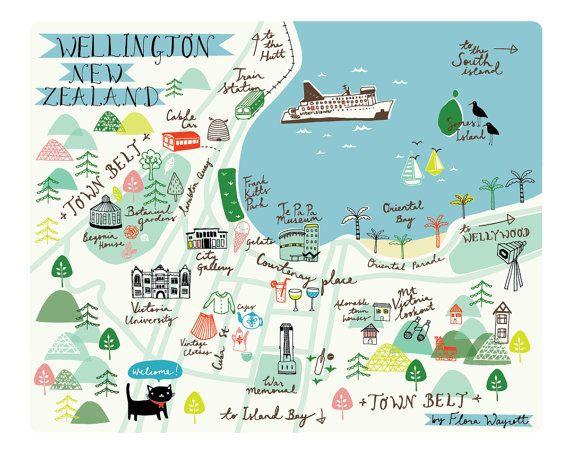 Map of Wellington New Zealand 8 x 10 by florawaycott on Etsy