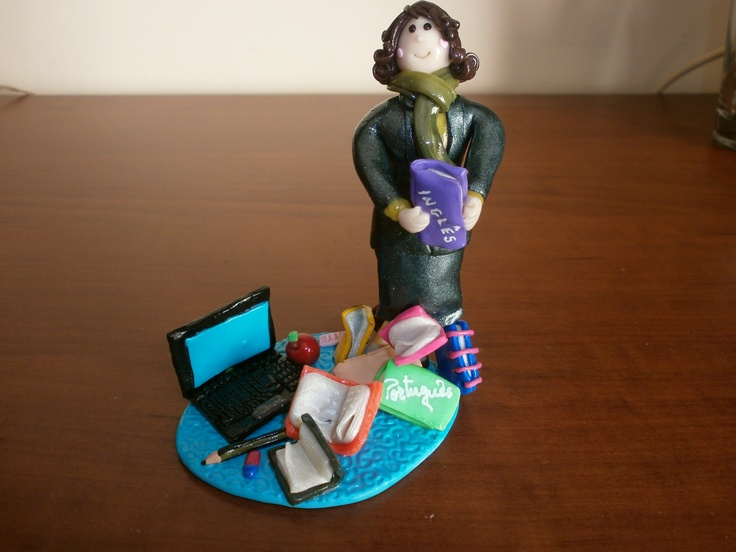 Polymer clay cake topper for a teacher