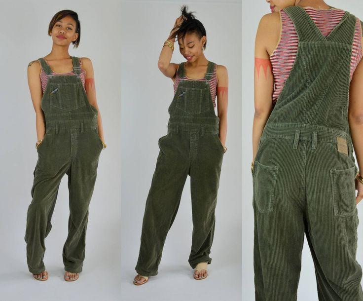 Cord  Medium  1990er Jahre Wald grün Baumwolle Overalls der