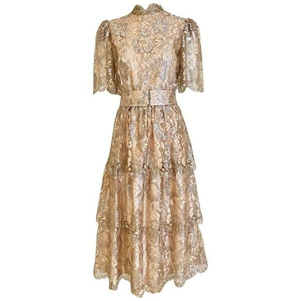Preowned 1980s Taupe Metallic Lace Tiered Ruffled Cocktail Dress (€835) ❤ liked on Polyvore featuring dresses, brown, wedding dresses, vintage lace dress, 1980s cocktail dress, vintage cocktail dresses, lace dress and beige bridesmaid dresses