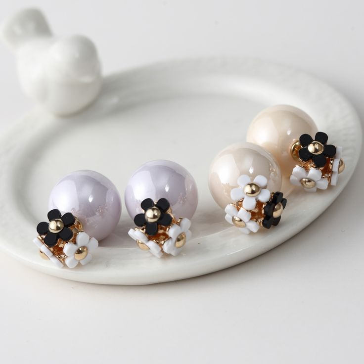 2016 New Korean Fashion Accessories Cute Little Flower Beautiful Ball Color Double Sides Stud Earrings For Women Brincos  ED145