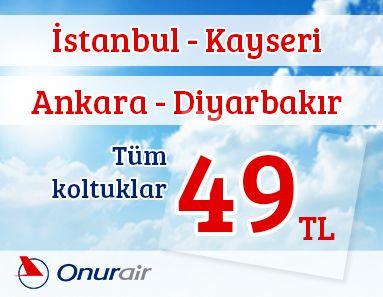 #Ucakbileti #Ucuzucakbileti - #Kampanyalar, #Onur-Air - Onurair Havayolları İle İstanbul – Kayseri ve Ankara – Diyarbakır Karşılıklı Seferler 49 TL - http://www.alobilet.com/kampanyalar/onurair-havayollari-ile-istanbul-kayseri-ve-ankara-diyarbakir-karsilikli-seferler-49-tl - Onur Air Havayolları'ndan İstanbul – Kayseri ve Ankara – Diyarbakır fırsatları ile karşılıklı seferler ile 49 TL'den uçmanızı sağlıyor.  26 Ekim 2014 – 28 Mart 2015 t