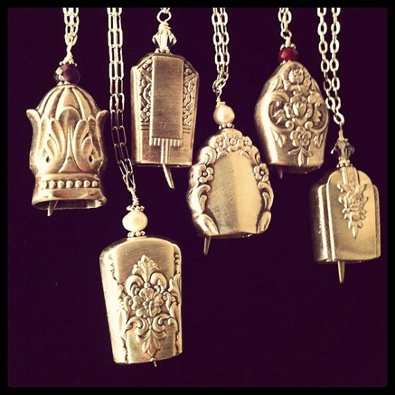 Art Deco antique butter knife bell pendant necklace upcycled repurposed silverwear jewelry.