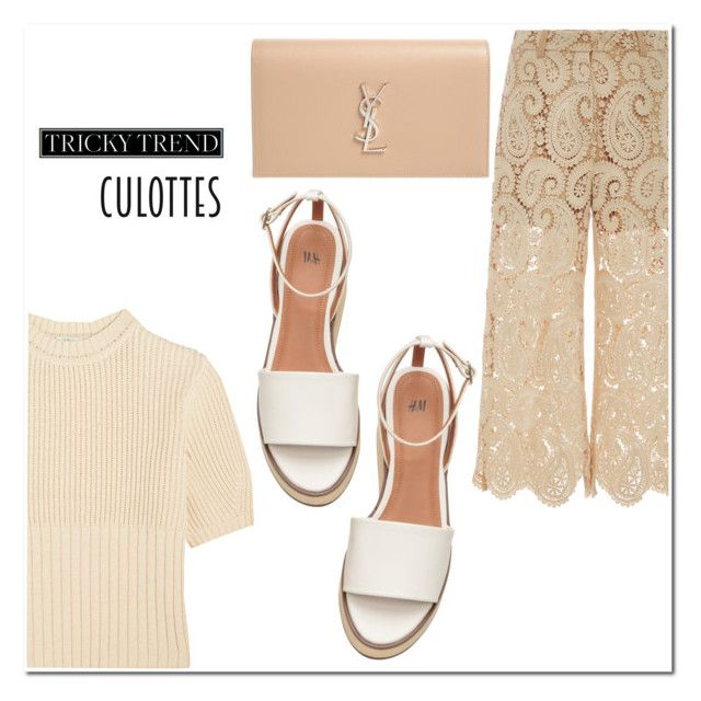 """TRICKY TREND: CHIC CULLOTES"" by candelaputro ❤ liked on Polyvore featuring self-portrait, Totême, Yves Saint Laurent, TrickyTrend and culottes"