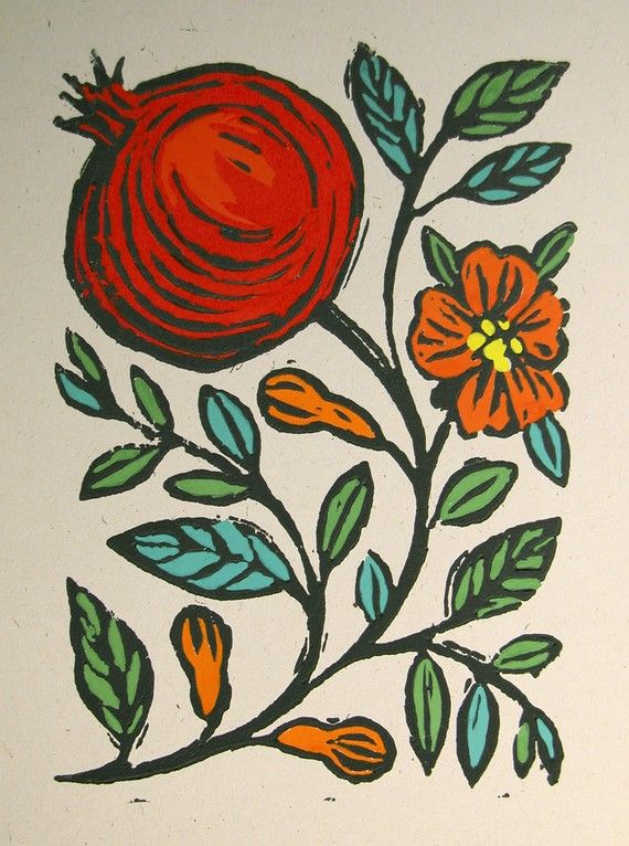 Pomegranate Block Print Original Art, hand-painted in gouache by giardino on Etsy, $36.00