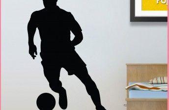 muursticker-voetballer-kinderkamer-silhouette-zwart-wit-grijs-zilver-footballer-wallsticker