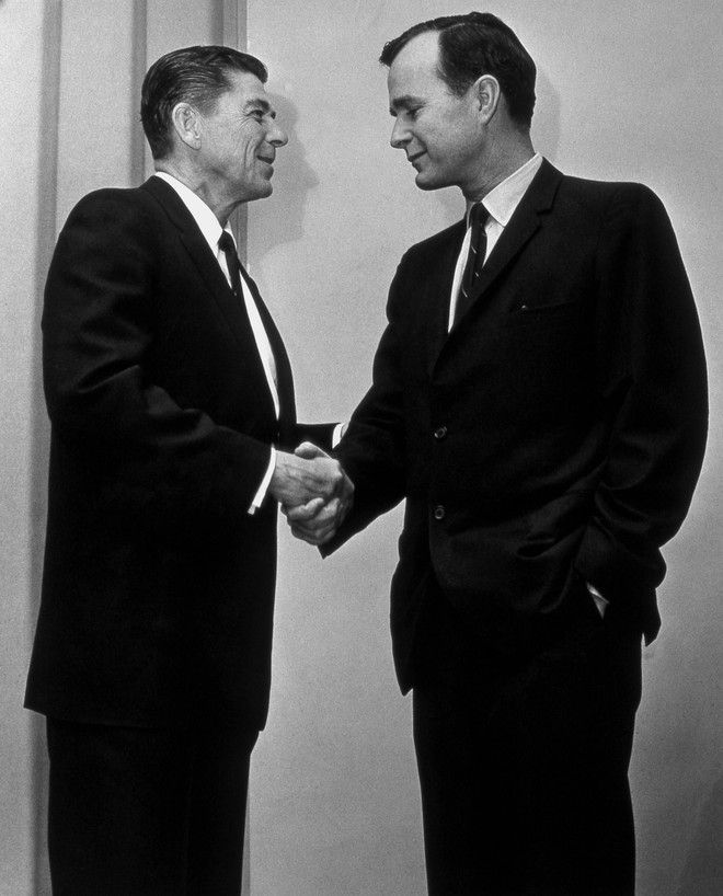Texas Congressman George Bush with California Governor Ronald Reagan, March 1967.
