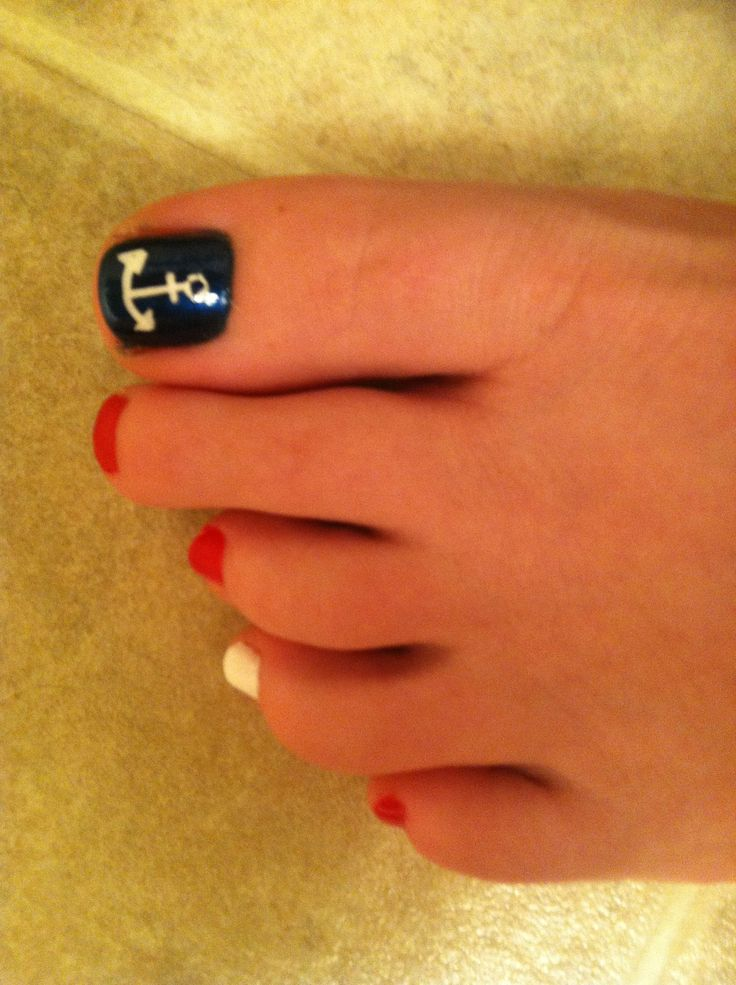 Anchor. Toe nail design. Red white and blue - 8 Best Pedicures Images On Pinterest Anchors, Nautical And Toe