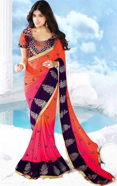 Picture of Sparkling Pink and Tomato Color Saree