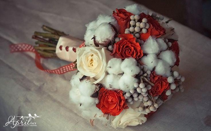 winterbouquet#red#cotton#wedding