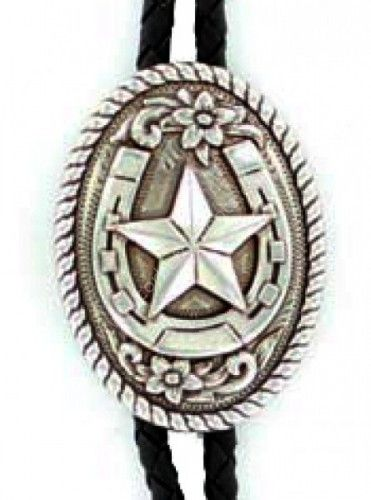 Corbeto's Boots   52-22820   Corbatín vaquero metal envejecido con herradura y estrella   Antique metal horseshoe with star bolo tie