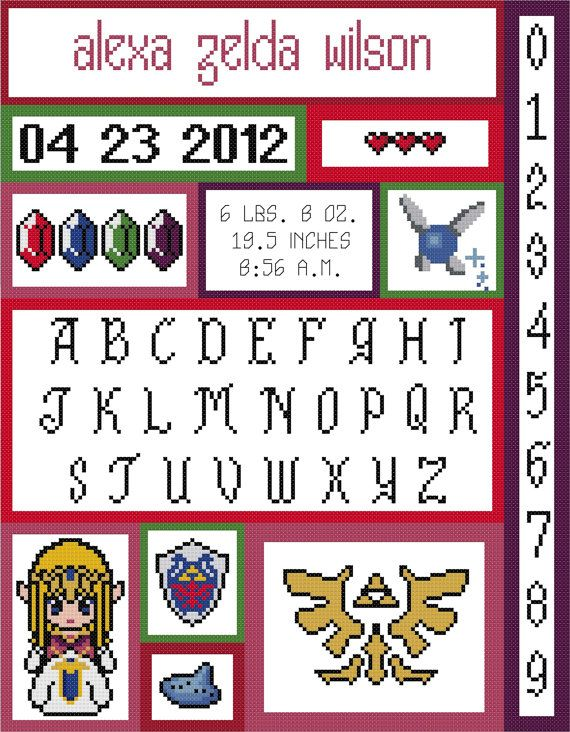 Zelda Baby Birth Record Cross Stitch Pattern by HappyCupcakePlush