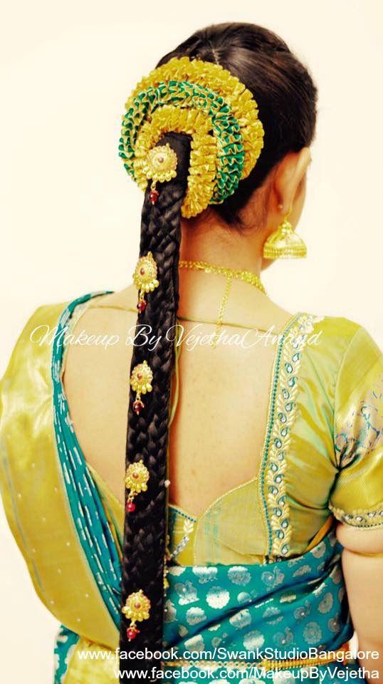 Traditional Southern Indian would-be bride's bridal braid hair. Hairstyle by Vejetha for Swank Studio. PHOTO CREDIT: Manish Ananda. Silk Saree. Sari Blouse Design. Hair Accessories. Temple jewelry. Jhumkis. Silk Kanjeevaram sari. Braid with fresh flowers. Tamil bride. Telugu bride. Kannada bride. Hindu bride. Malayalee bride. Find us at https://www.facebook.com/SwankStudioBangalore