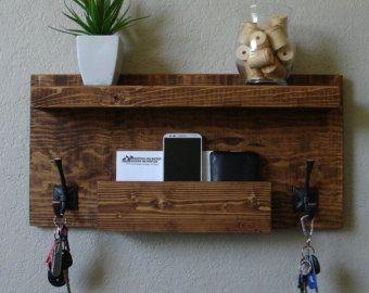 Rustic Entryway Mail Key Organizer by KeoDecor on Etsy
