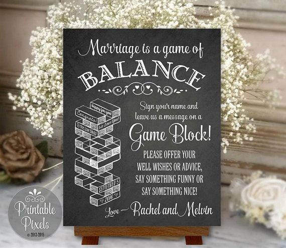 Jenga Guest Book Printable Chalkboard Wedding by PrintablePixels More