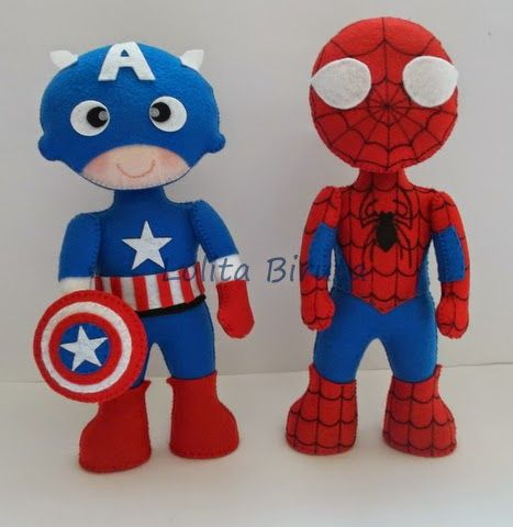 Capitão América e Homem aranha em feltro                                                                                                                                                     Mais