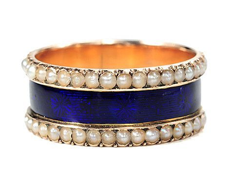 I wish I was wearing this ring of gold, pearls and enamel (c.1840).
