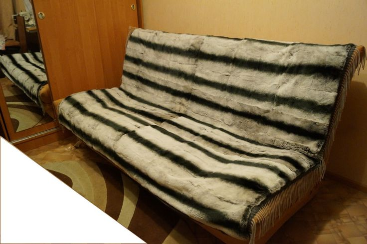 Меховое покрывало из натурального меха (кролик-рекс под шиншиллу) под заказ. 89082302421