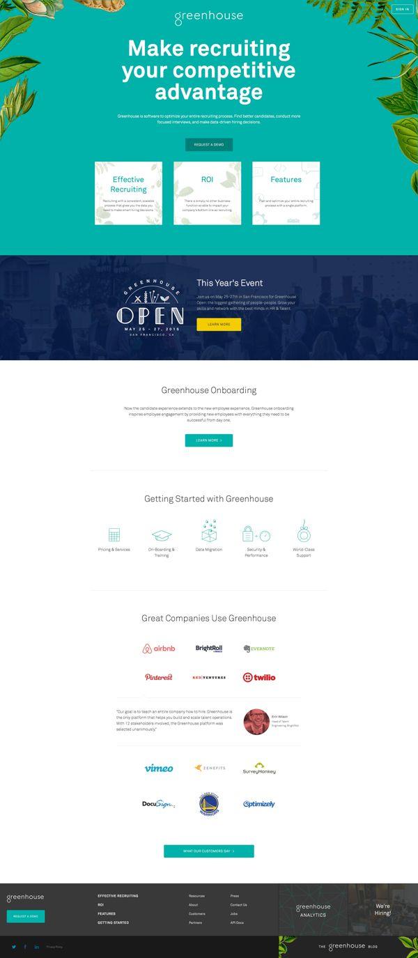 Greenhouse Recruiting | Landing Page Design Inspiration