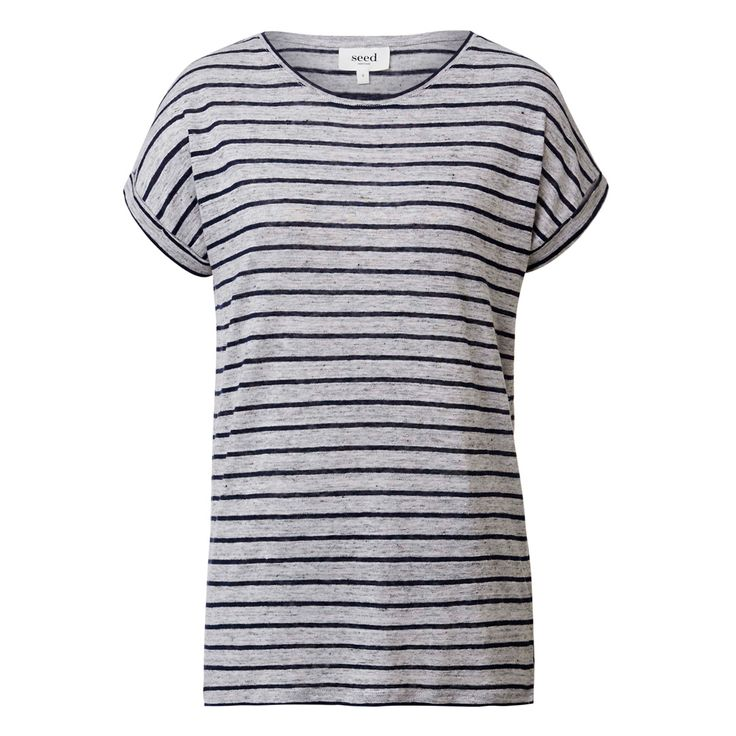 100% Linen Rolled Cuff Tee. Relaxed style features scoop neck, rolled short sleeves, slight hi lo hem with side splits in an all over striped fabrication. Available in Ink Blue/Mid Grey Stripe as shown.