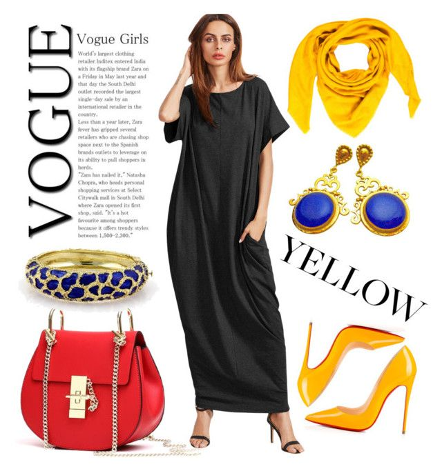 """""""colourfull"""" by babsi666 on Polyvore featuring Goyard, Christian Louboutin, outfit, black, dress and muslim"""
