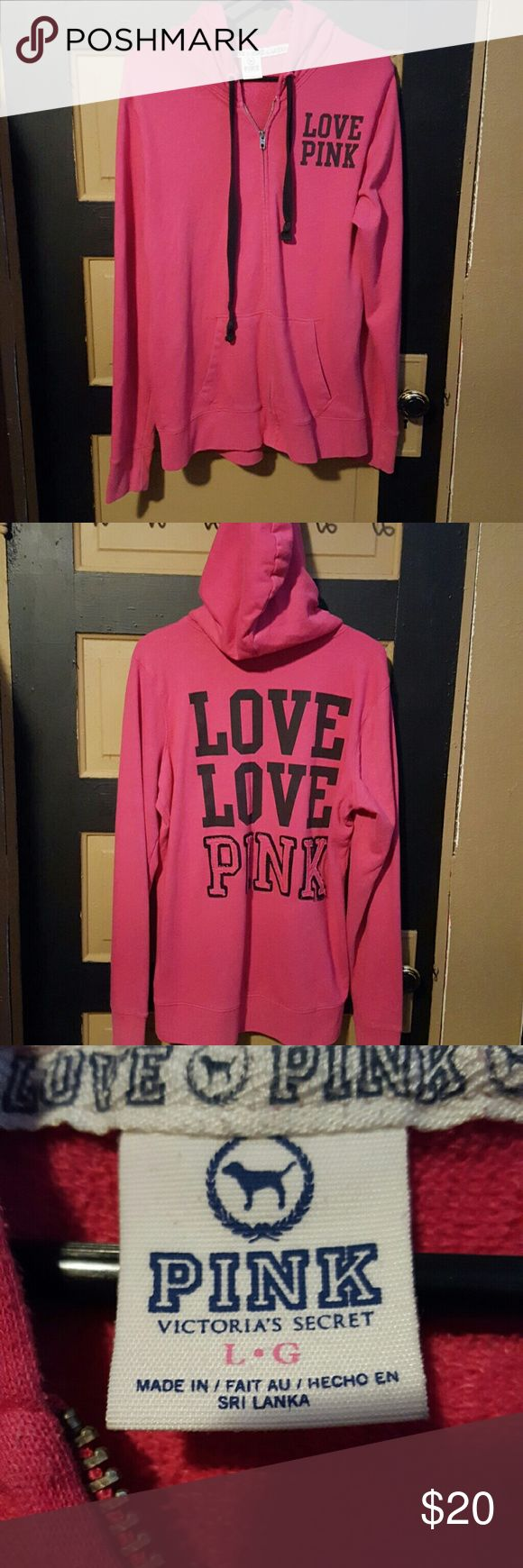 Pink (Victoria's Secret) Zip up hoodie Large Pink zip up hoodie, the eyelets started to fall out so I had to sew them in, other than that no damage. PINK Victoria's Secret Tops Sweatshirts & Hoodies