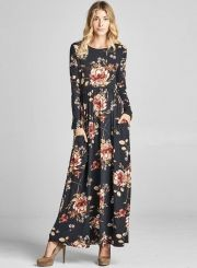 The dress is featuring round neck, long sleeve, floral printed and maxi length. The dress is casual and fashion. It's suitable for shopping, outdoors, vacation and many occasions.
