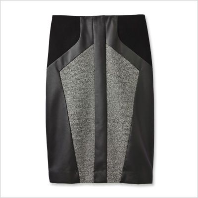 ANN TAYLOR PENCIL SKIRT Faux leather, rayon and polyester, $98; anntaylor.com.
