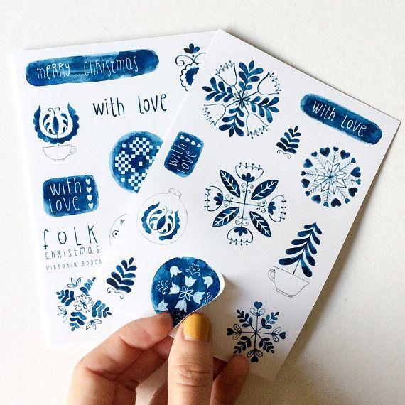 Indigo folk Christmas STICKERS  #folk #folkart #folklore #indigo #ink #indigoink #snowflake #acrylicink #painting #christmas #christmasstickers #stickers #stationery #christmasdecoration #christmasgift #gift #packaging #packagingdesign