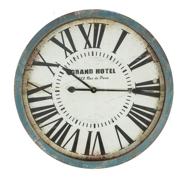 Blue & White 60cm Round Wall Clock - Grand Hotel - Wood Frame - Roman Numerals - Casa Uno