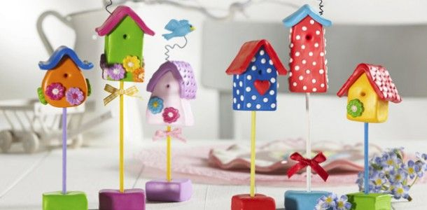 birdhouses made of Polymer Clay.