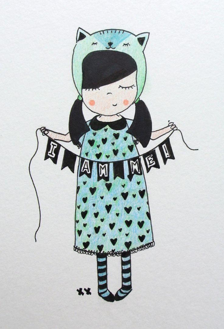 meisje illustratie kinderkamer | girl illustration kids room http://www.kinderkamervintage.nl
