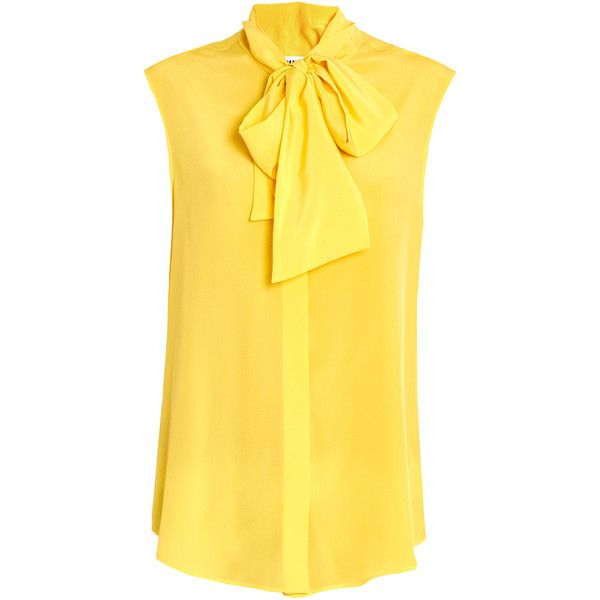 Moschino Sleeveless Pussybow Blouse ($295) ❤ liked on Polyvore featuring tops, blouses, shirts, pussy bow blouse, sleeveless blouse, moschino shirt, moschino and bow neck blouse