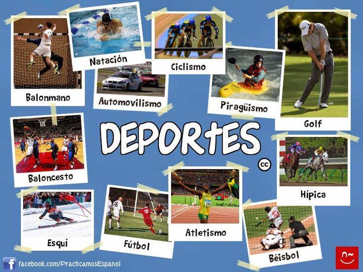 Presentación y materiales para aprender el vocabulario de los deportes junto a actividades y juegos para practicarlos. Nivel A2.