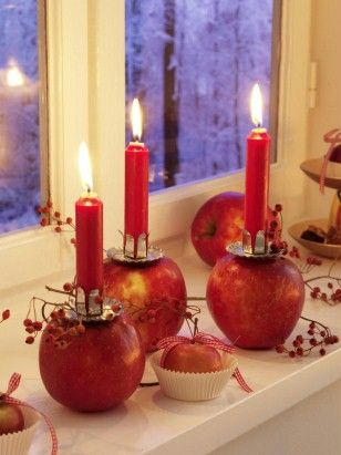 .love to make some wooden apple candle holders
