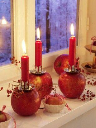 Äpfel mit Kerzen oben drauf, das ist doch mal eine tolle Idee die auch noch gut riecht. :)