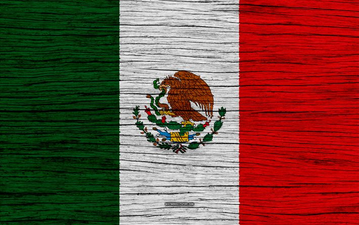 Download wallpapers Flag of Mexico, 4k, North America
