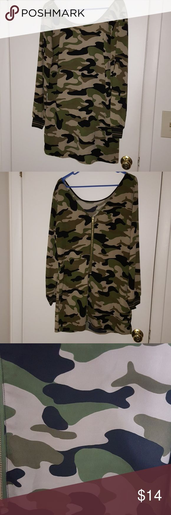 GB Camouflage Dress/Shirt Brand: GB Size: L Color: Tan, Black, Green Style: Longsleeve Dress/Shirt  LARGE IS NOT TRUE TO SIZE, FITS LIKE A MEDIUM  Buyers can expect: Careful packaging, Fast shipping, & Delivery confirmation with each item purchased! PET FREE HOME & SMOKE-FREE HOME. GB Dresses Long Sleeve