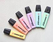 6 Pastel Highlighters, Stabilo Boss highlighting pencils, pastel pens, colored pens, Stabilo pens