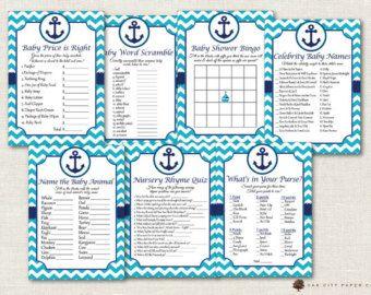 Artículos similares a Niño temática náutica ducha juego Package - bricolaje imprimibles-Bingo, juego de bebé de celebridades, deseos de bebé y hoja de actividades para LittleOnes en Etsy