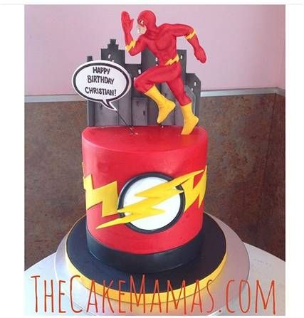 Flash Themed Birthday Cake! Call or email to book your custom cake today! #flash #dc #superhero #superheroparty #birthday #birthdaycakes